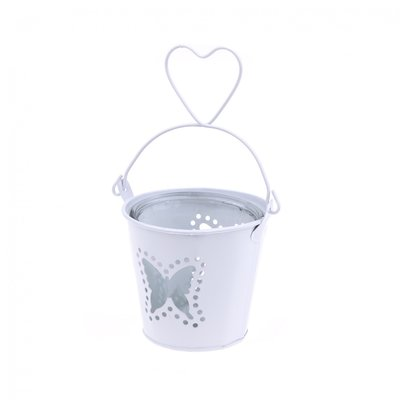 METAL&GLASS bucket butterfly white